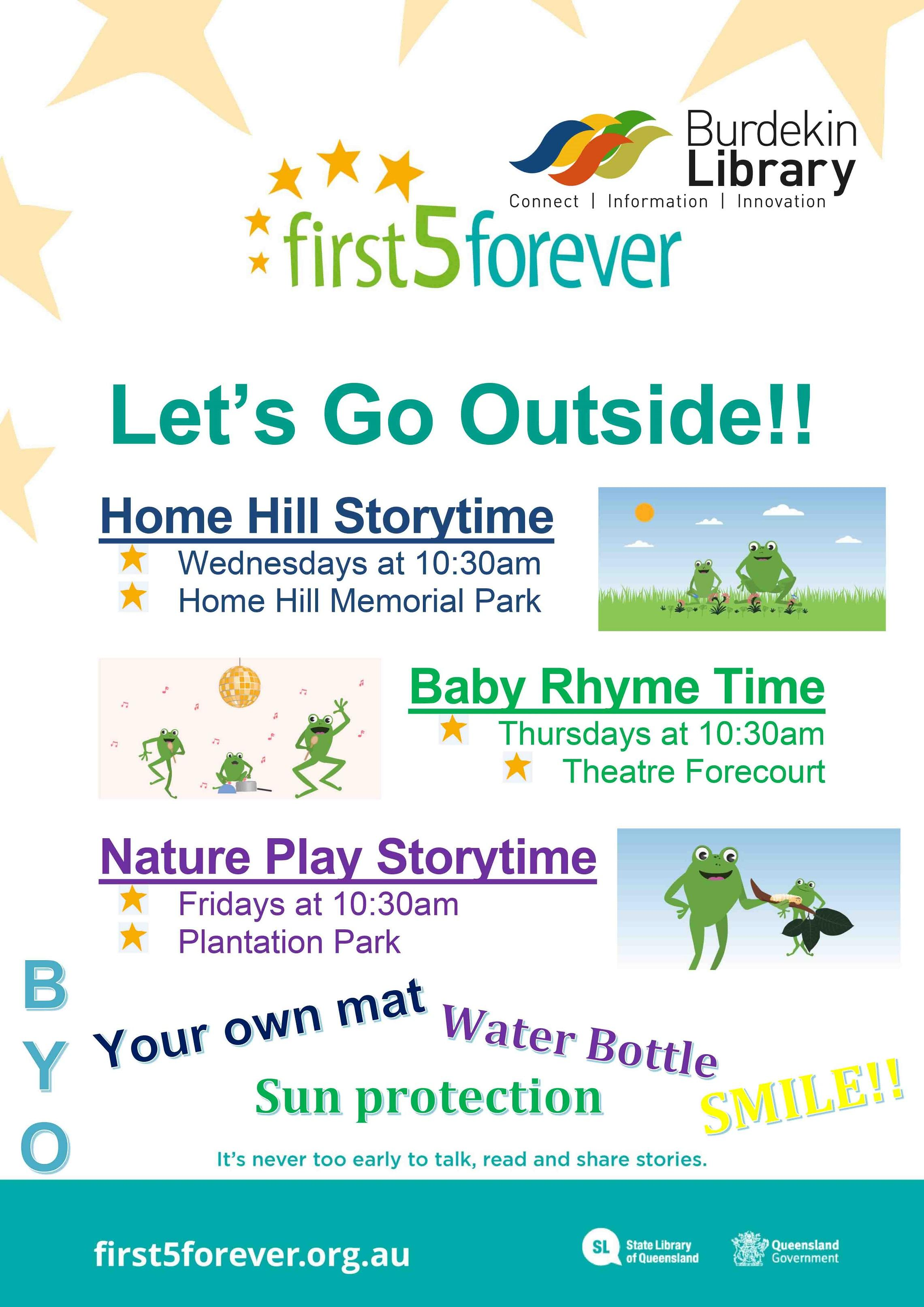 Image of First 5 Forever outdoor activities poster