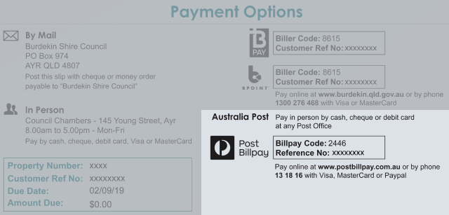 Australia post payment options on your rates form