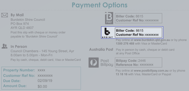 BPoint payment option on rates form