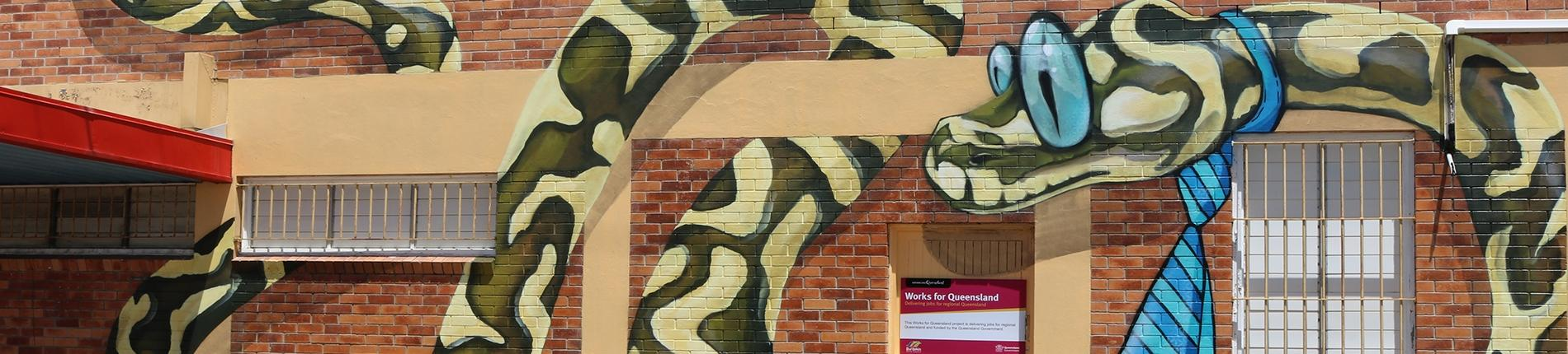 Street art, mural, snake, Works For Queensland
